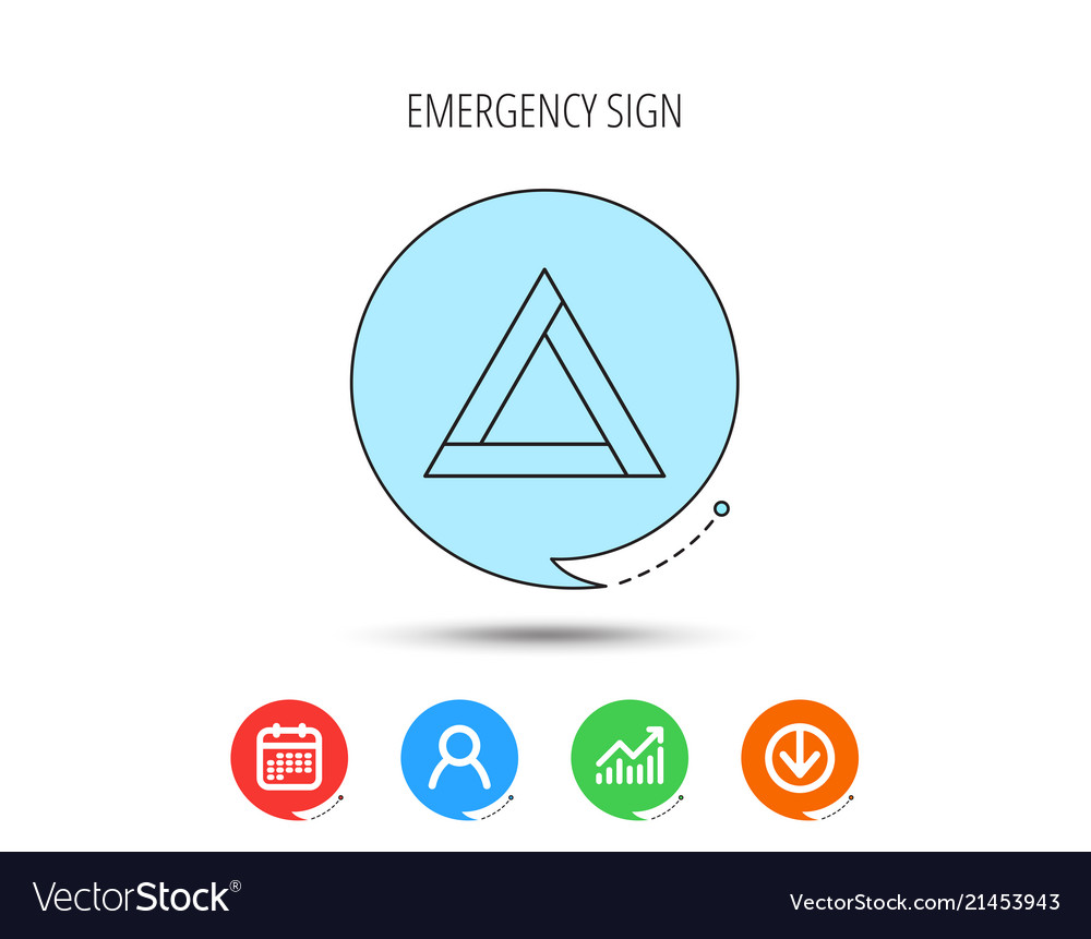 Emergency sign icon caution triangle sign