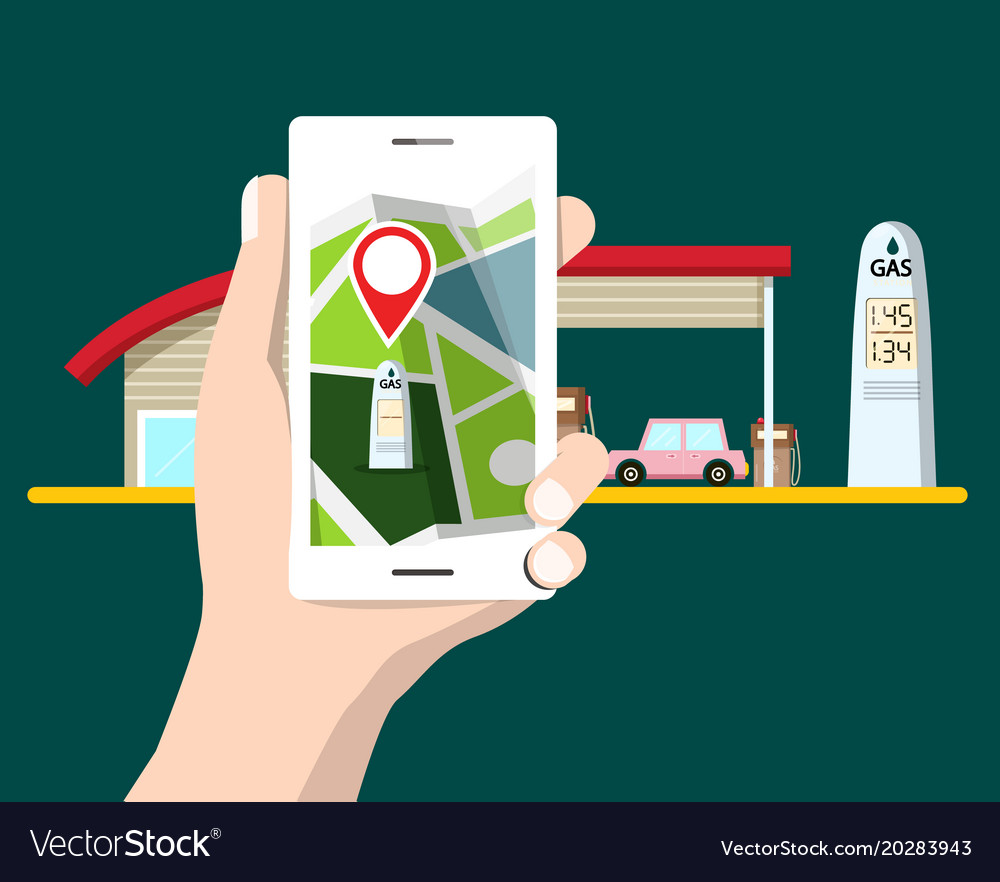 Flat design cellphone with gps navigation gas