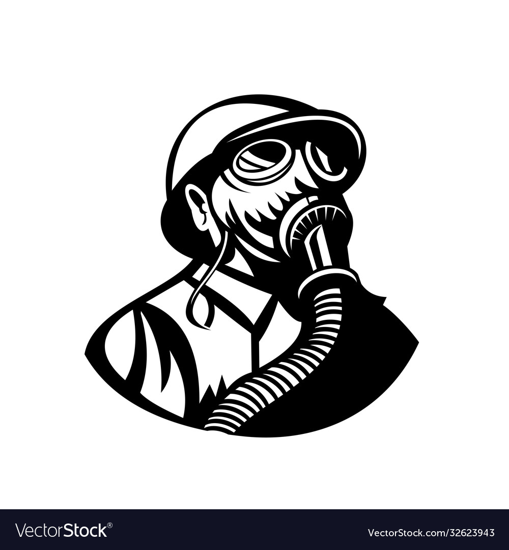 Gasman wearing a hardhat and gas mask looking up