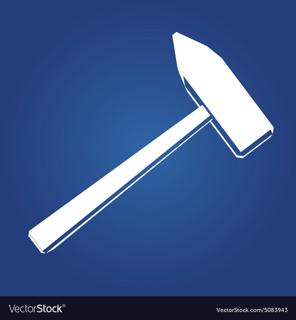 Hammer icon Icon isolated on a blue