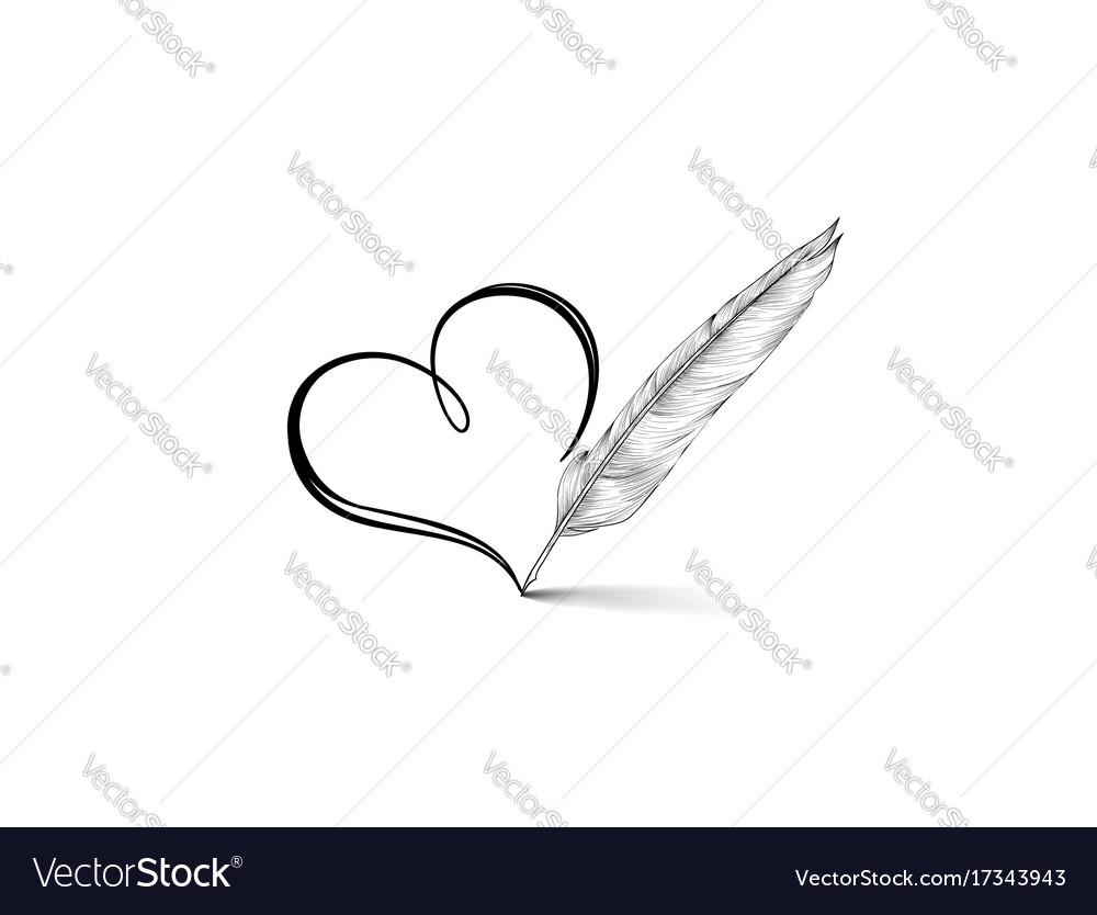 Heart icon stylish line art sign vector image