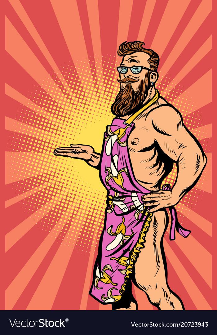 Naked male hipster waiter