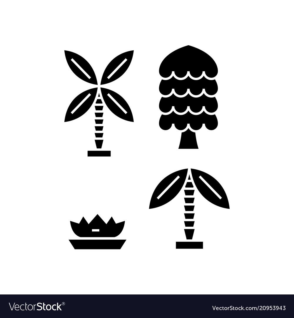 Palm tree black icon concept palm tree vector image