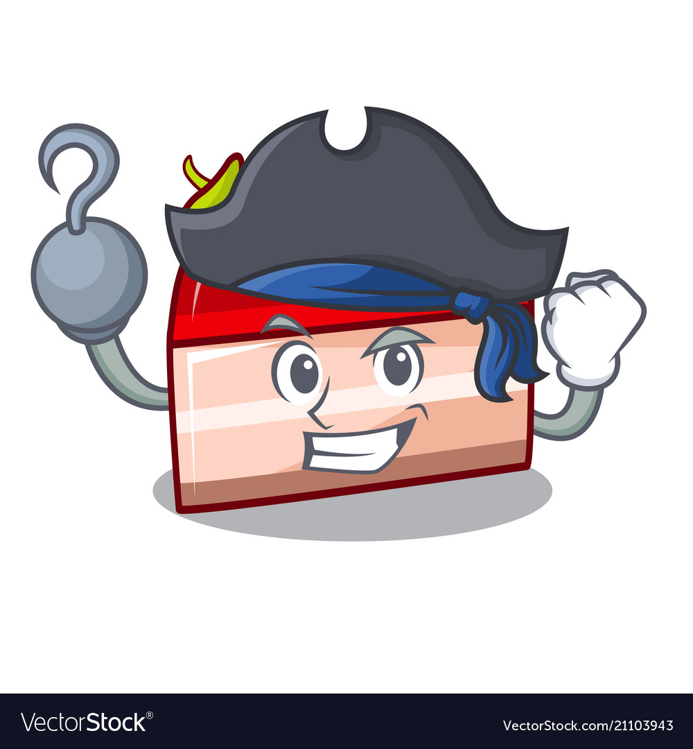 Pirate strawberry cake character cartoon vector image
