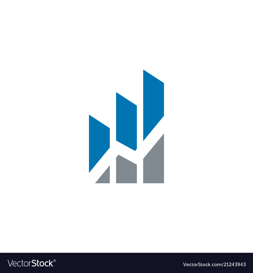 Rising bar with blue and grey color logo design