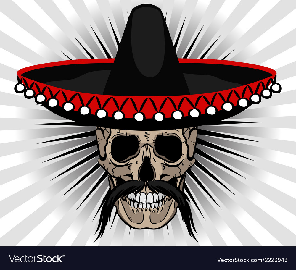 65bb976acf510 Skull Mexican style with sombrero and mustache Vector Image