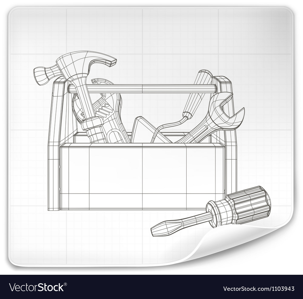Tool box drawing vector image