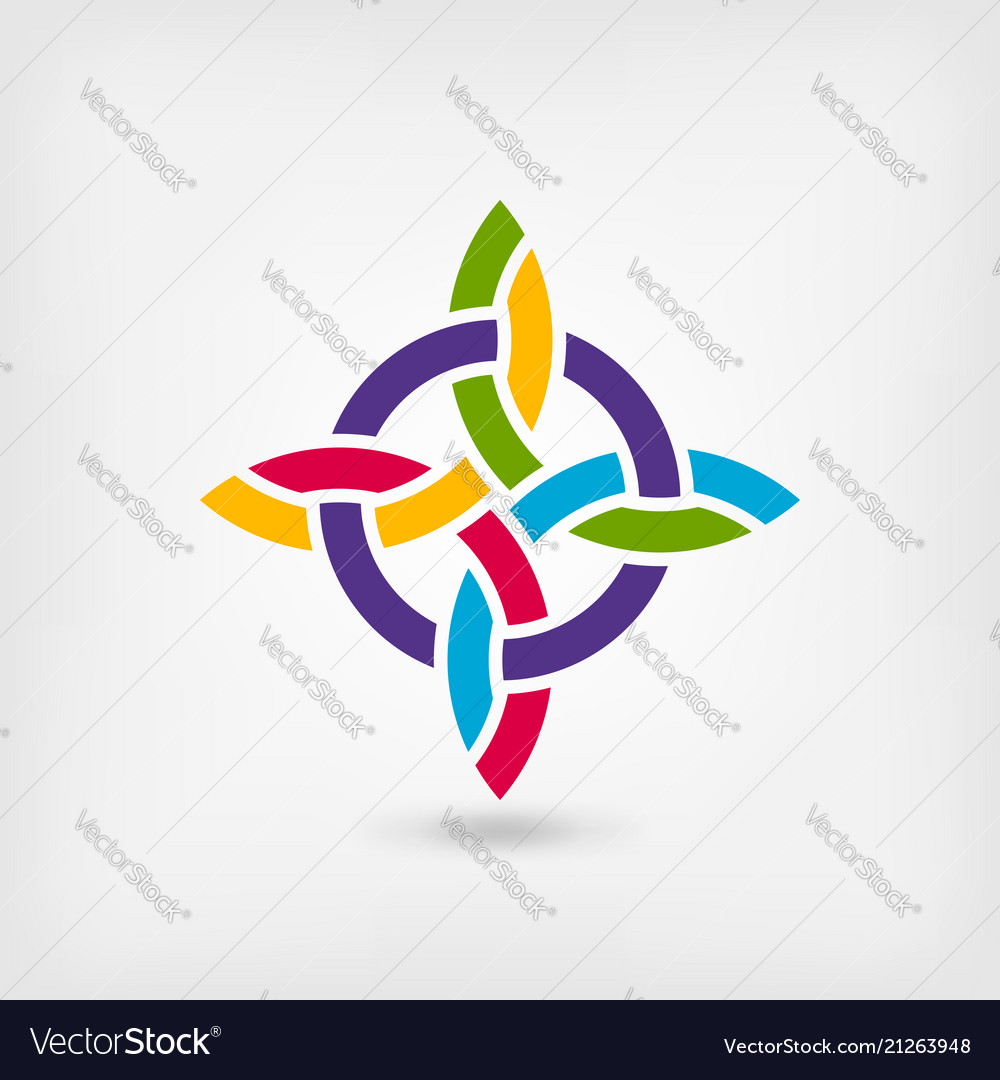 Abstract twisted symbol in rainbow colors