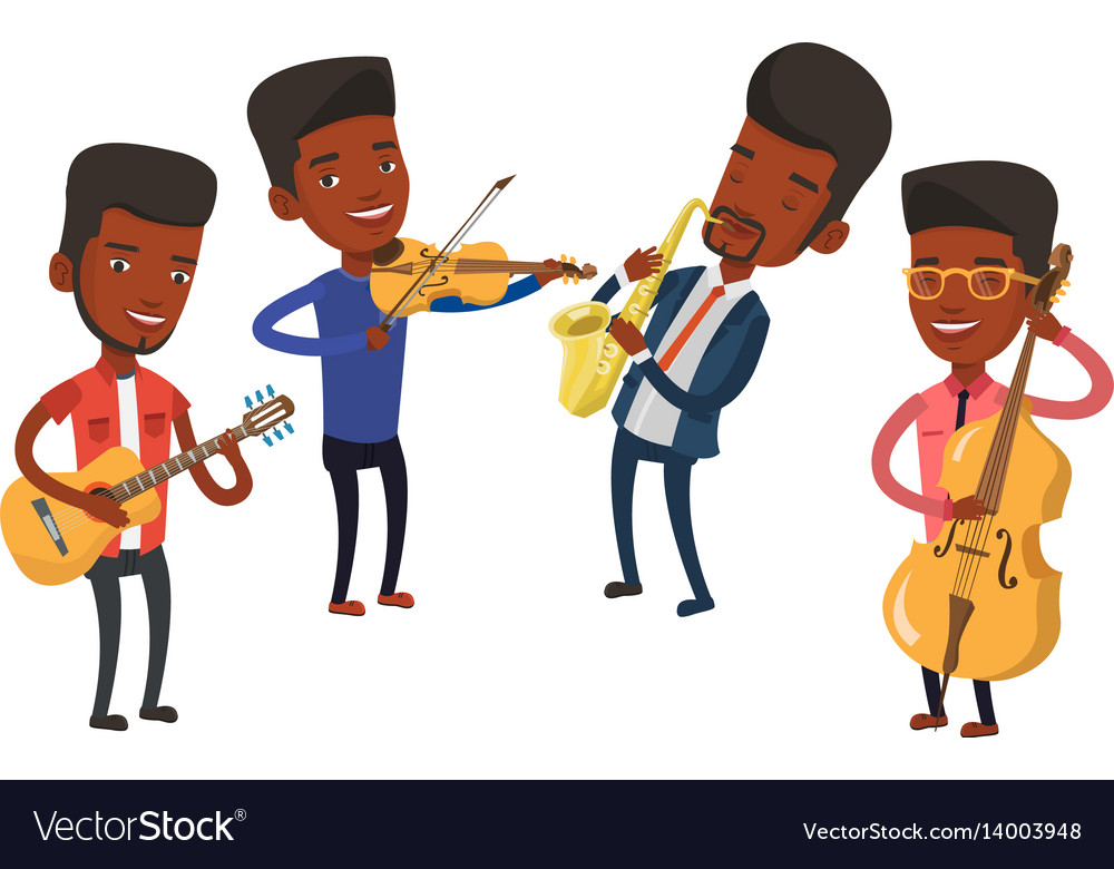Band of musicians playing on musical instruments