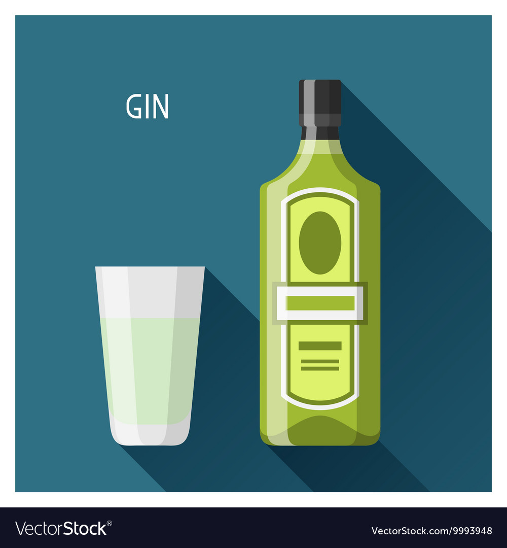 Bottle and glass of gin in flat design style