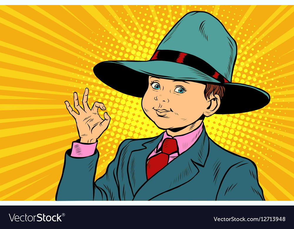 Boy OK gesture big hat mafia