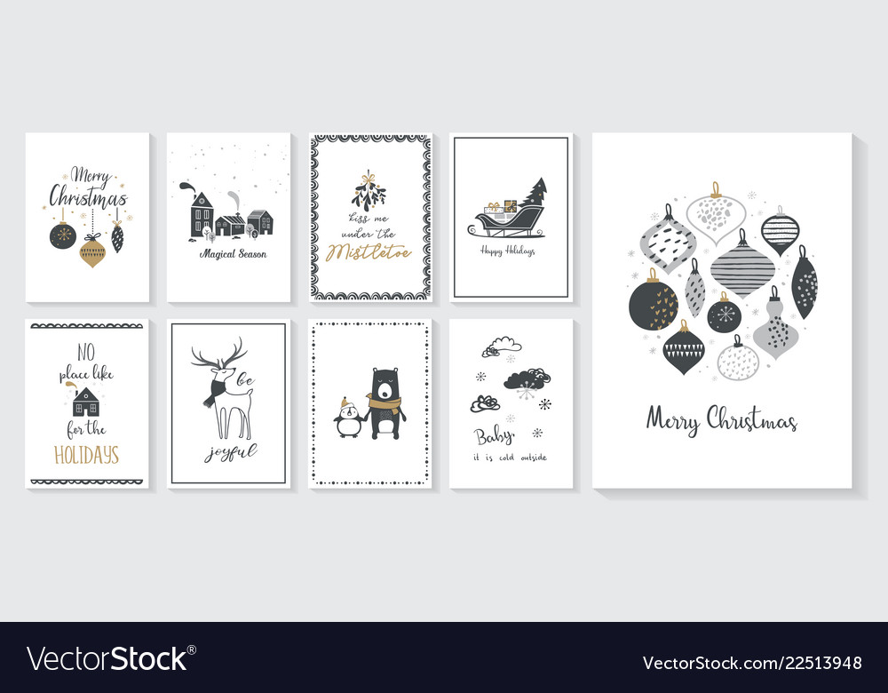 Christmas poster and greeting cards in retro