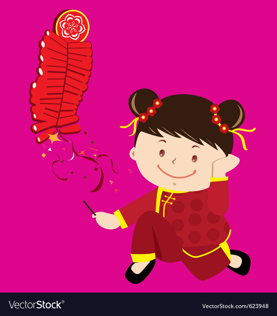 Cultural little girl vector image