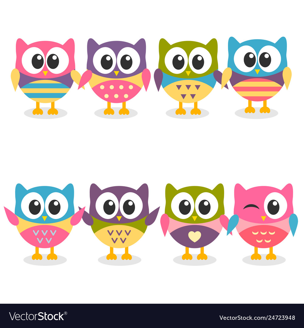 Cute colorful cartoon owls collection on white