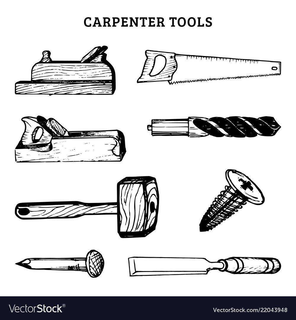 Drawing of carpentry tools of