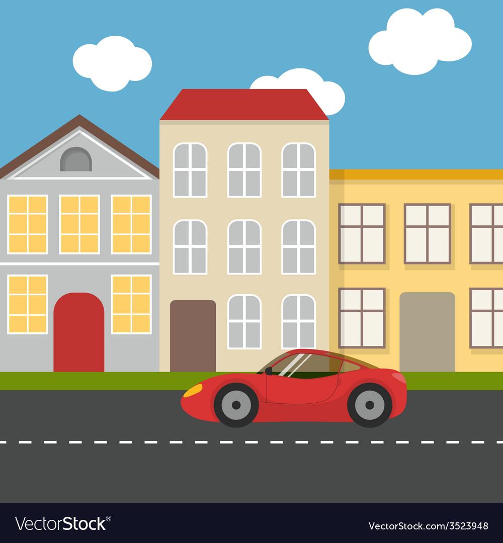 Flat urban landscape vector image