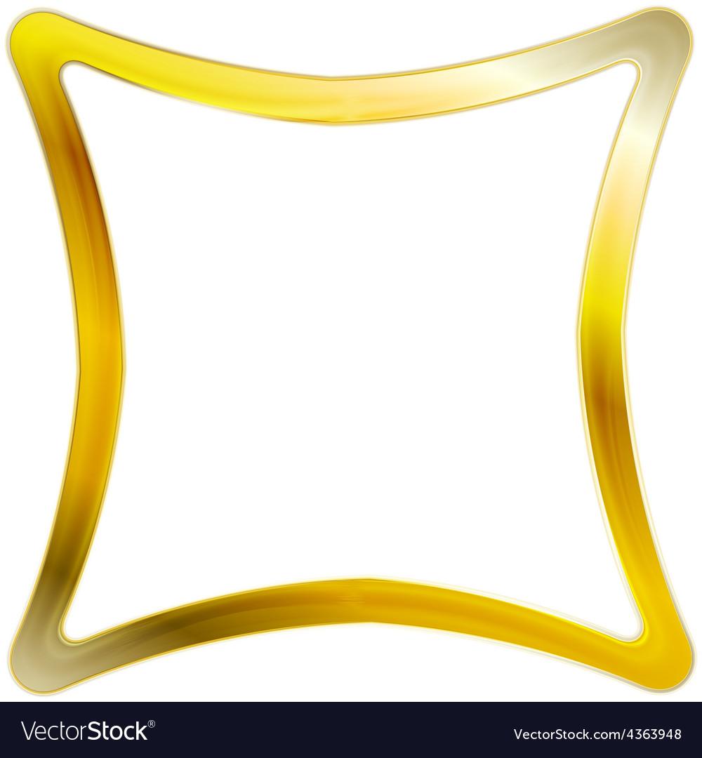 Golden Square Frame Design Vector Image