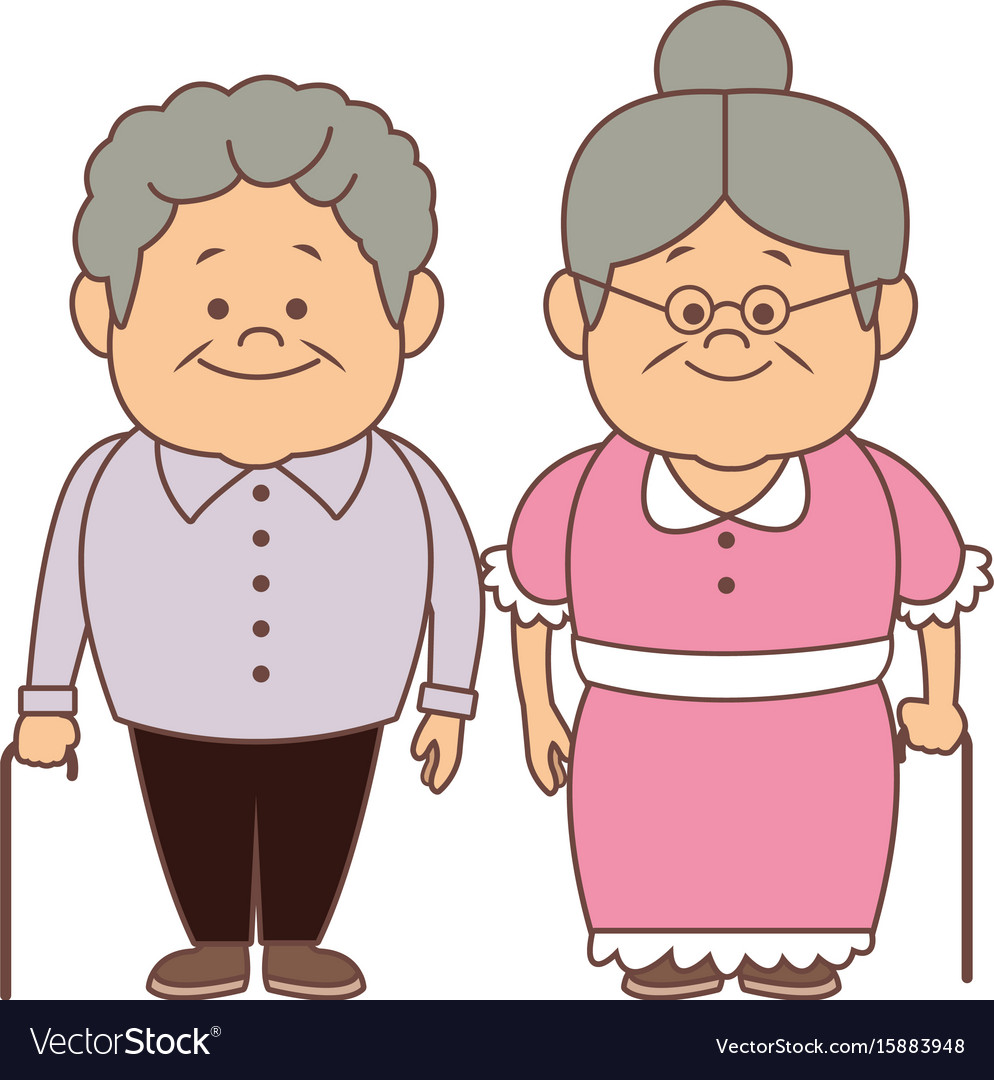 Happy grandparents holding hands grandpa and