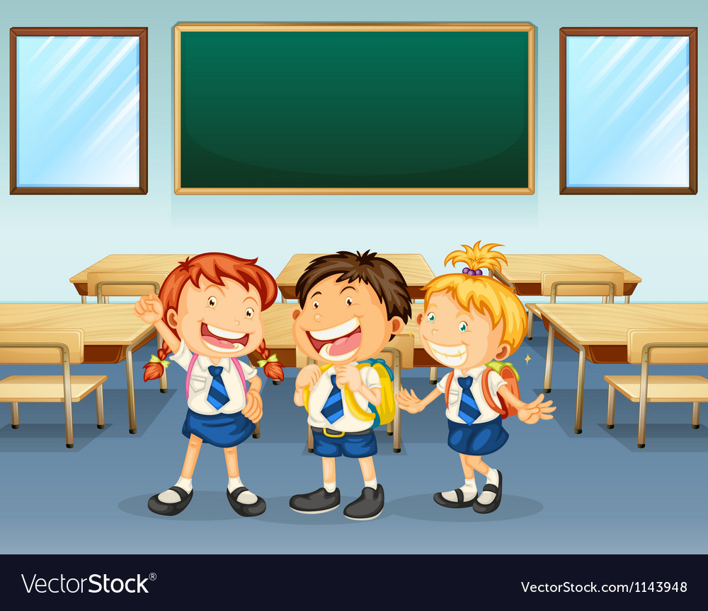 Happy students vector image