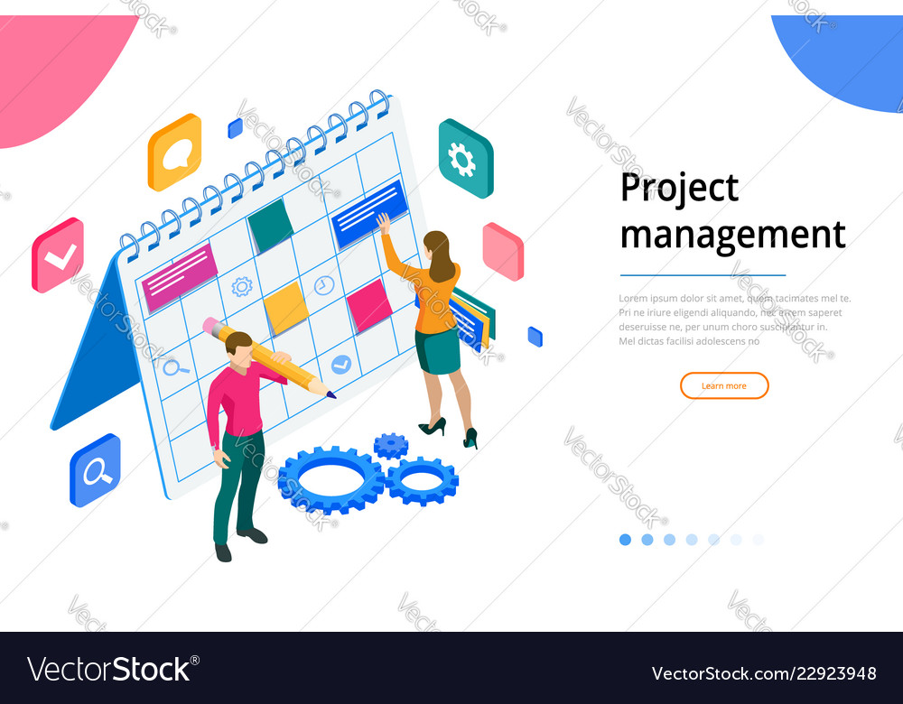 Isometric project manager updating tasks and
