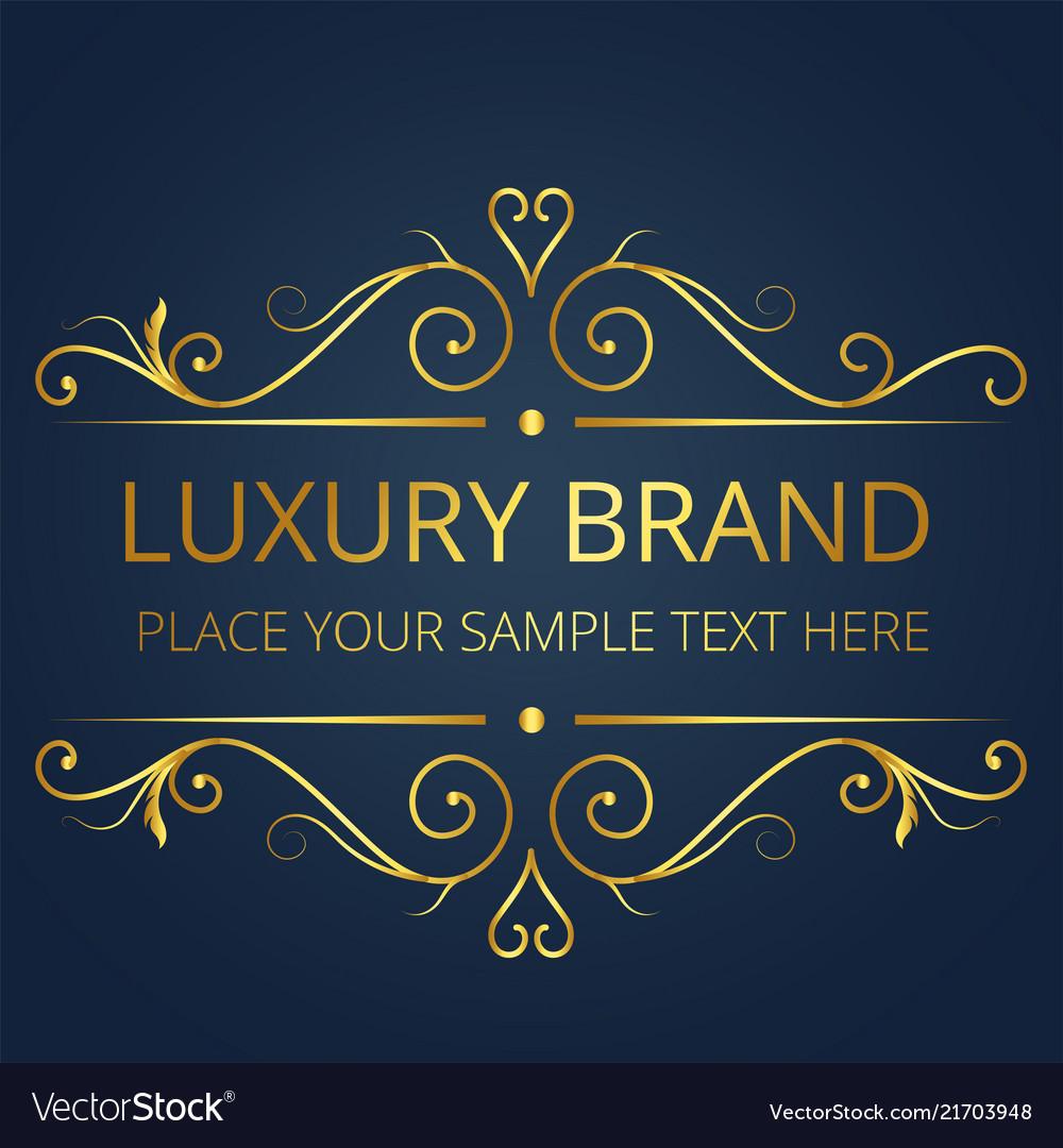 Luxury brand gold text template vintage design vec