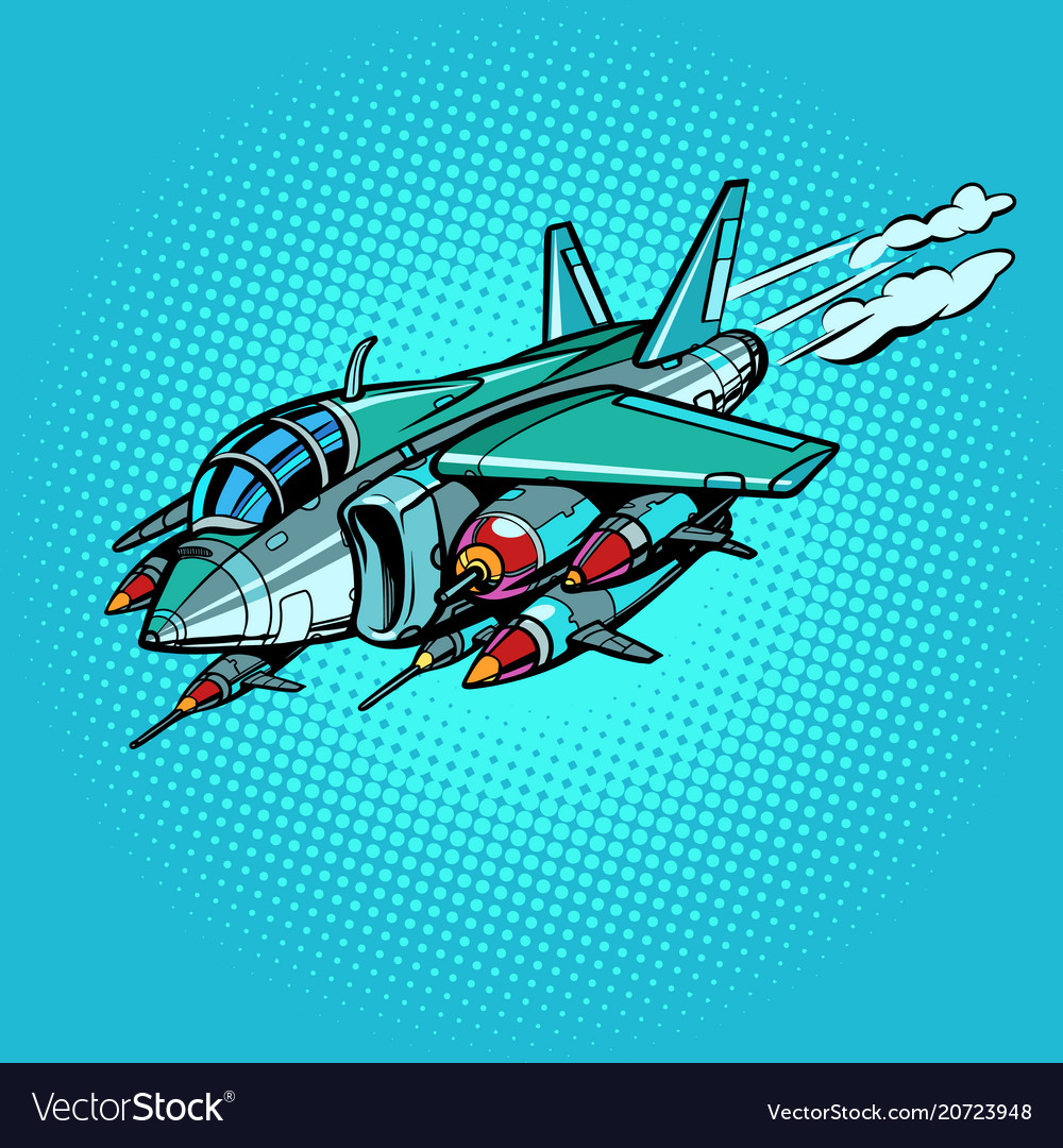 Military assault aircraft with bombs and missiles