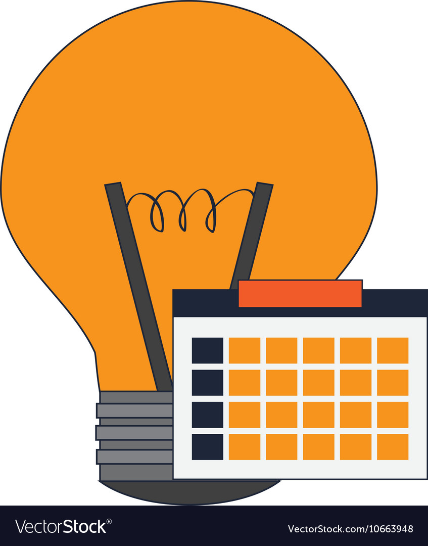 Regular lightbulb and calendar icon vector image