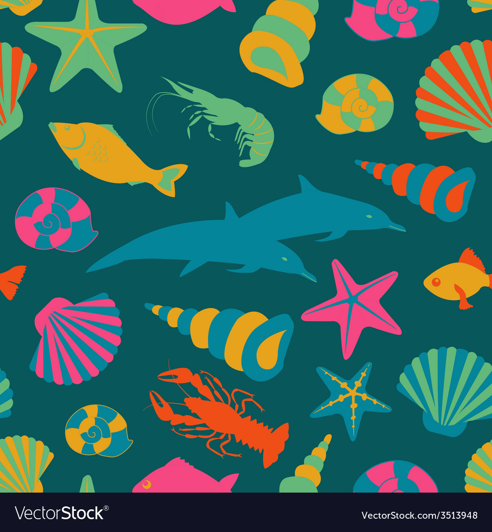 Sea animals seamless pattern flat style