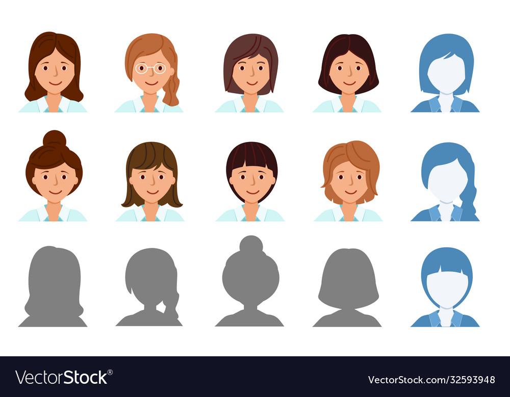Set avatar profile isolated icons smiling