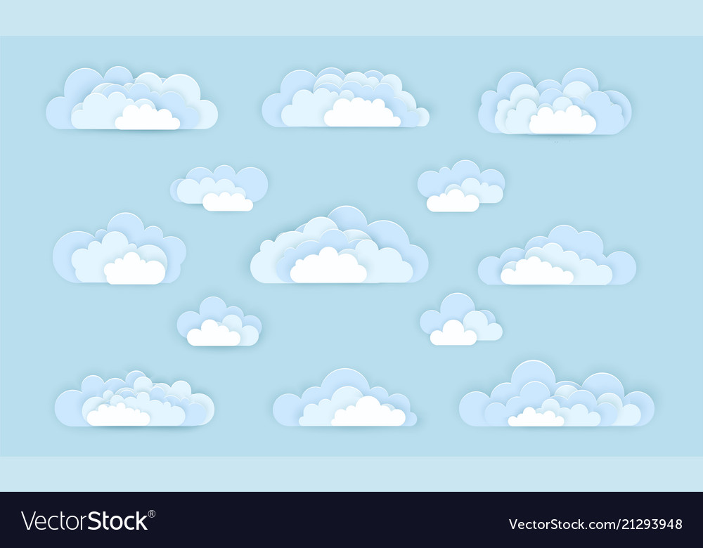 Set cloud icons in paper art style