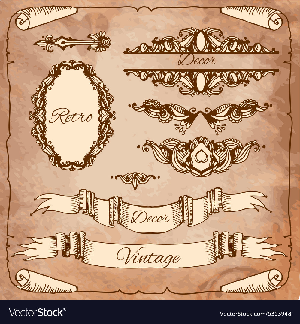 Set of calligraphic design elements page