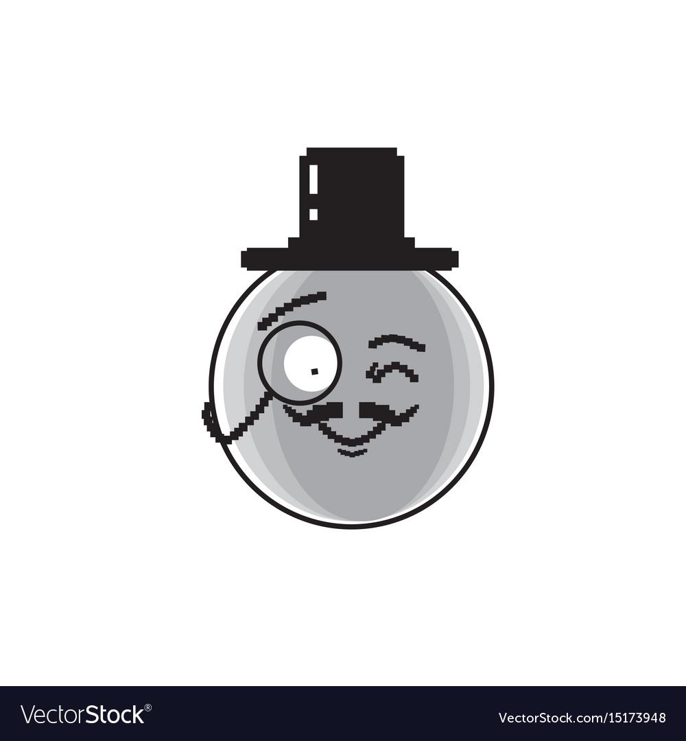 Smiling cartoon face wear aristocrat hat positive