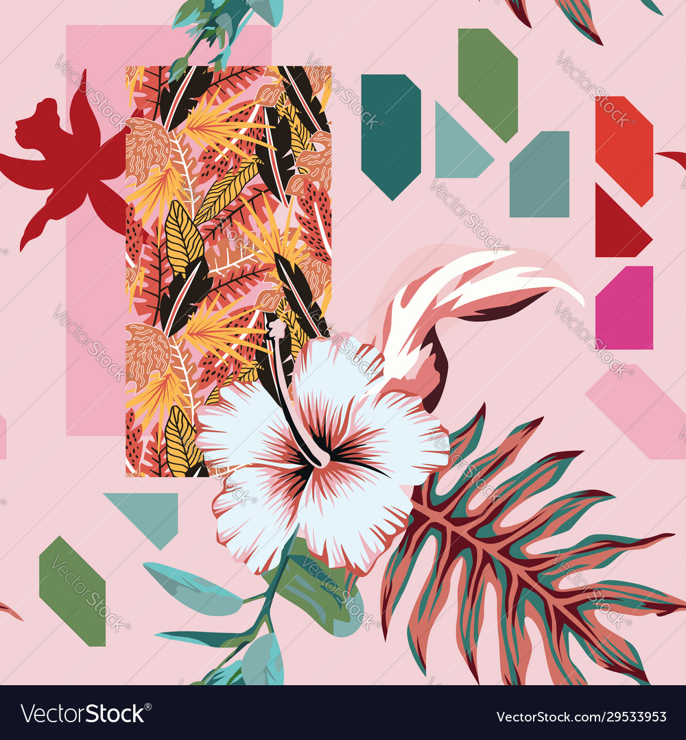 Abstract composition tropical leaves flowers