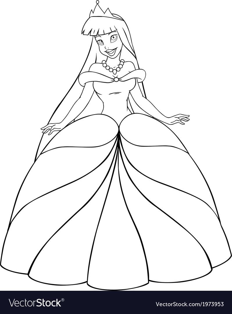 Asian princess coloring page vector image
