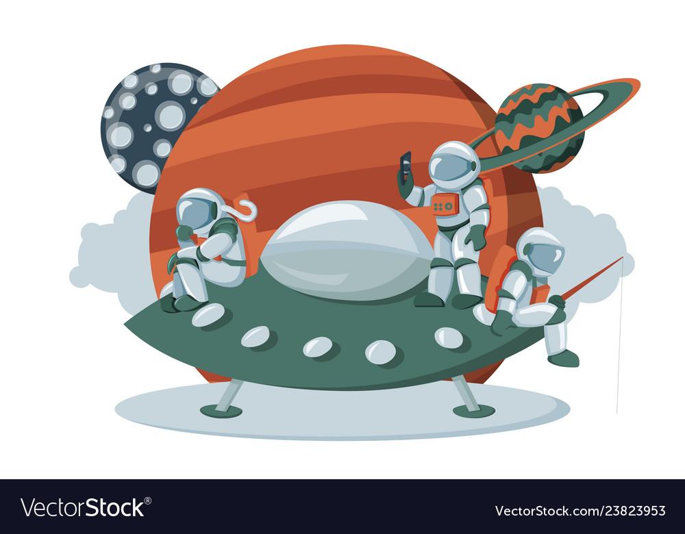 Astronaut landing on an alien space ship