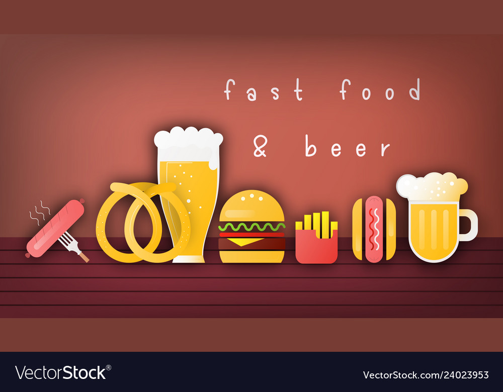 Beer and fast food banner