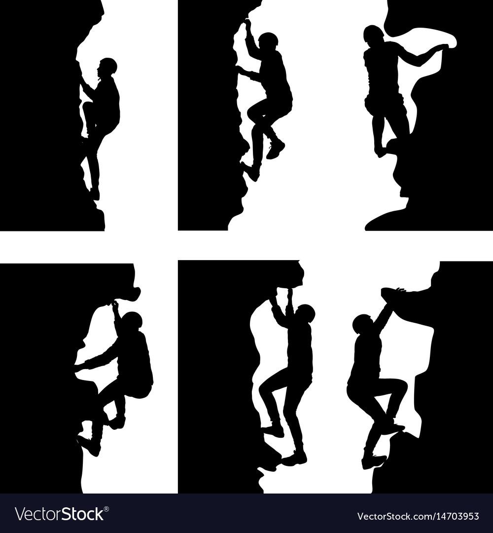 Black set silhouette rock climber on white vector image