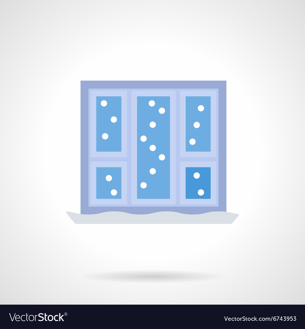 Christmas window flat color icon vector image