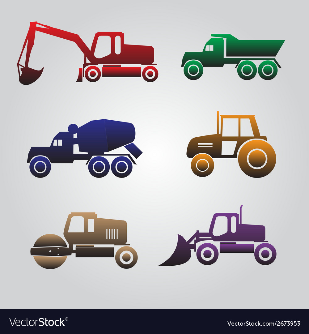 Color Heavy Machinery Cars Icons Eps10 Vector Image