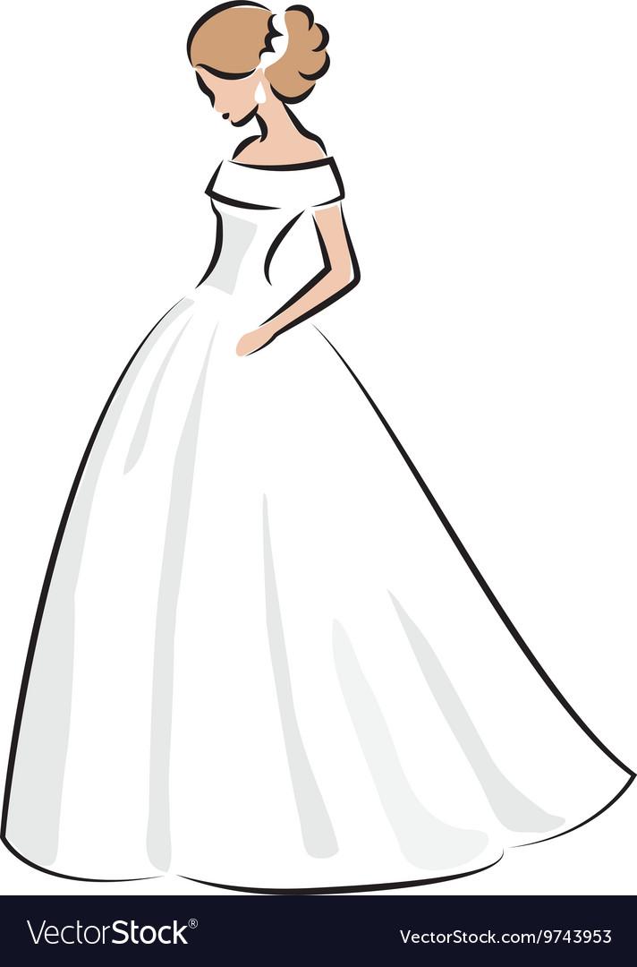 Color sketch of an elegant bride in white dress Vector Image