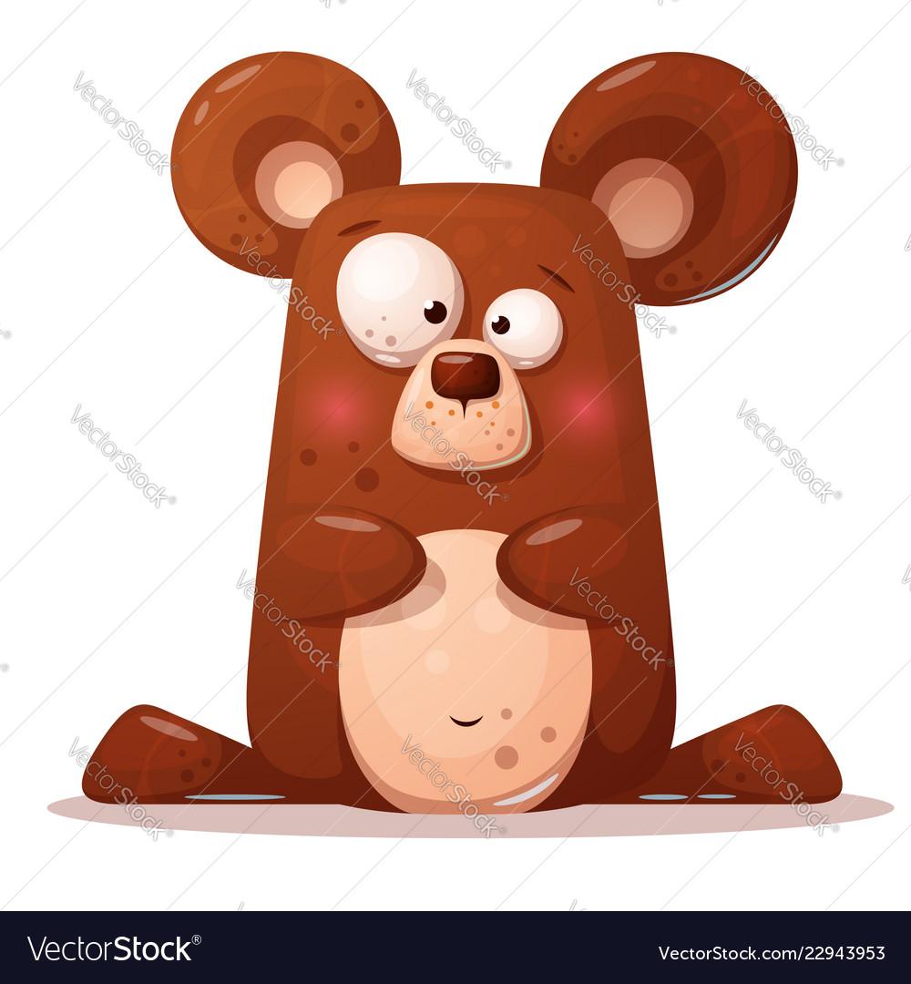Cute funny bear animal character