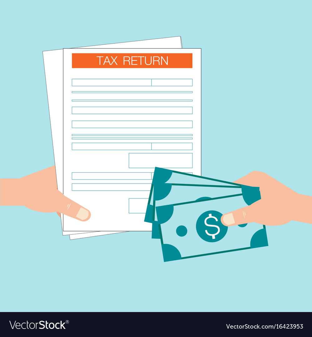 Hand holds tax return form and hand giving money