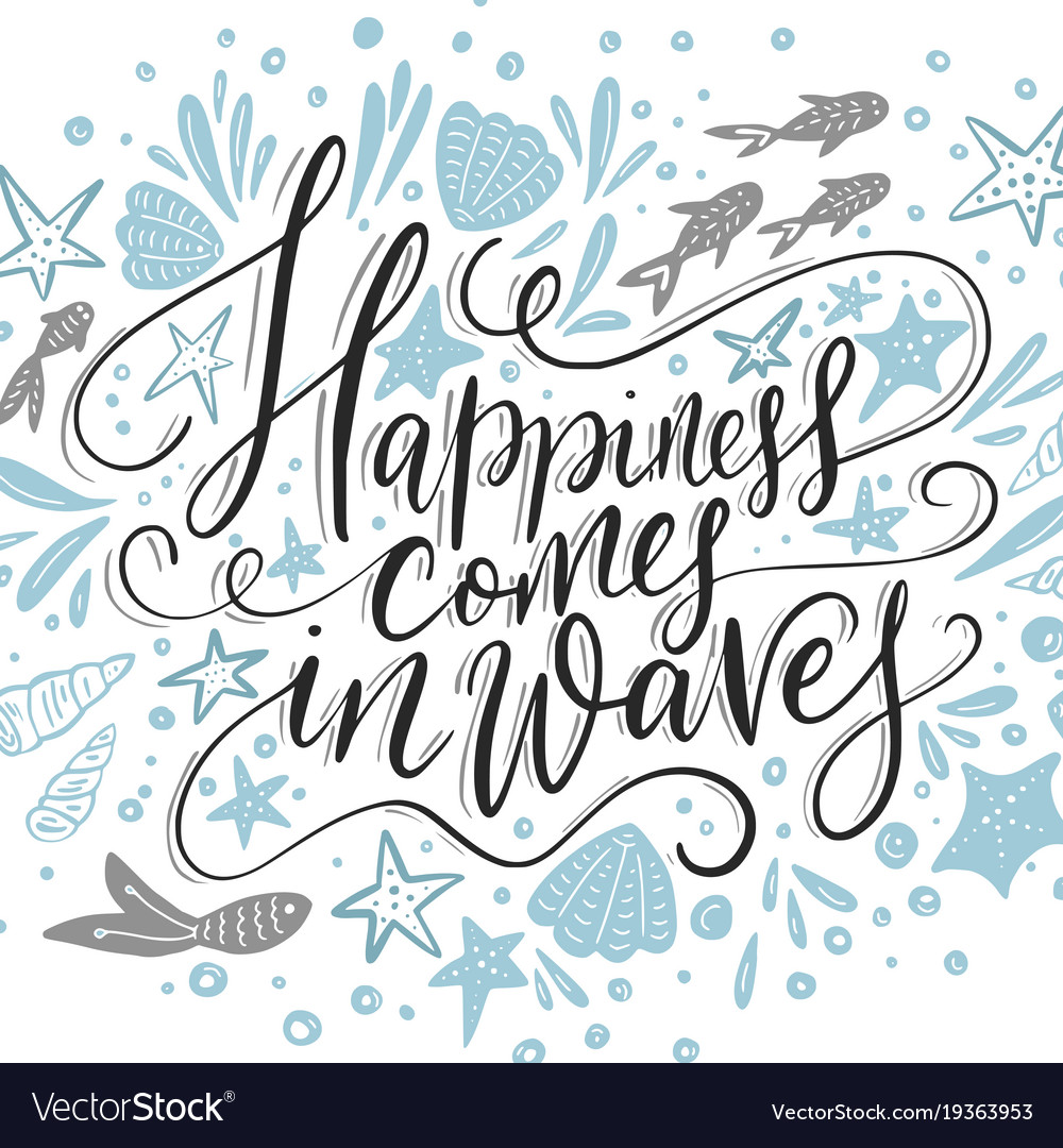 Happiness cpmes in waves lettering card