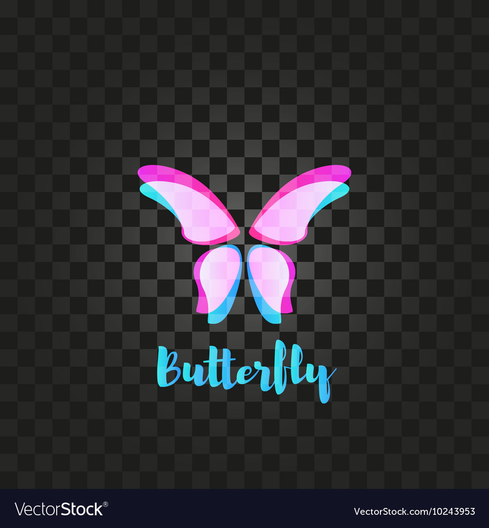 Isolated pink butterfly logo Insects