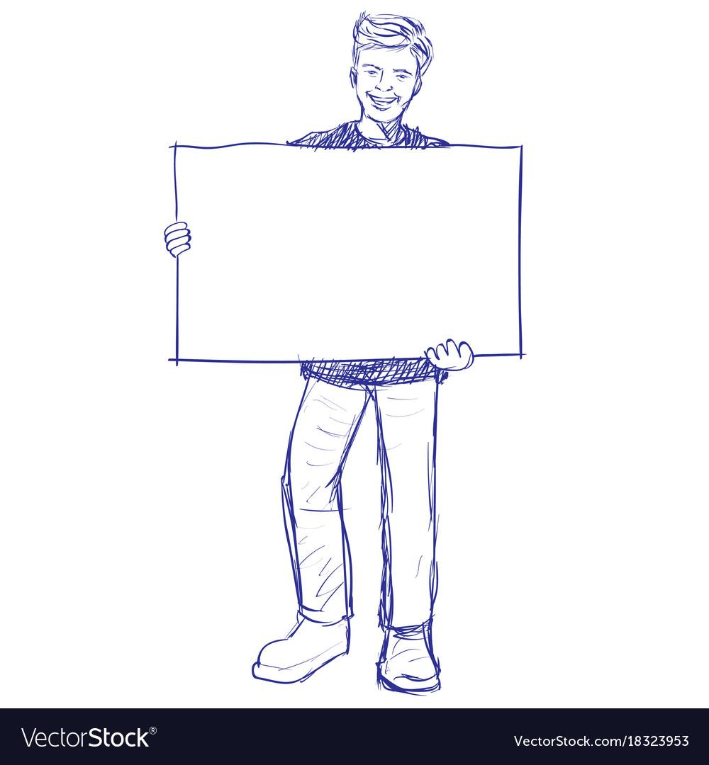 Man holding blank board - hand drawn