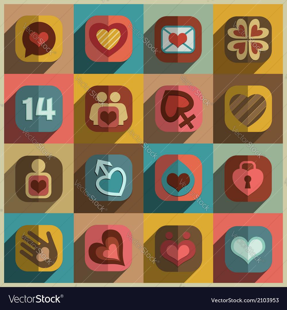 Modern flat heart valentine icons