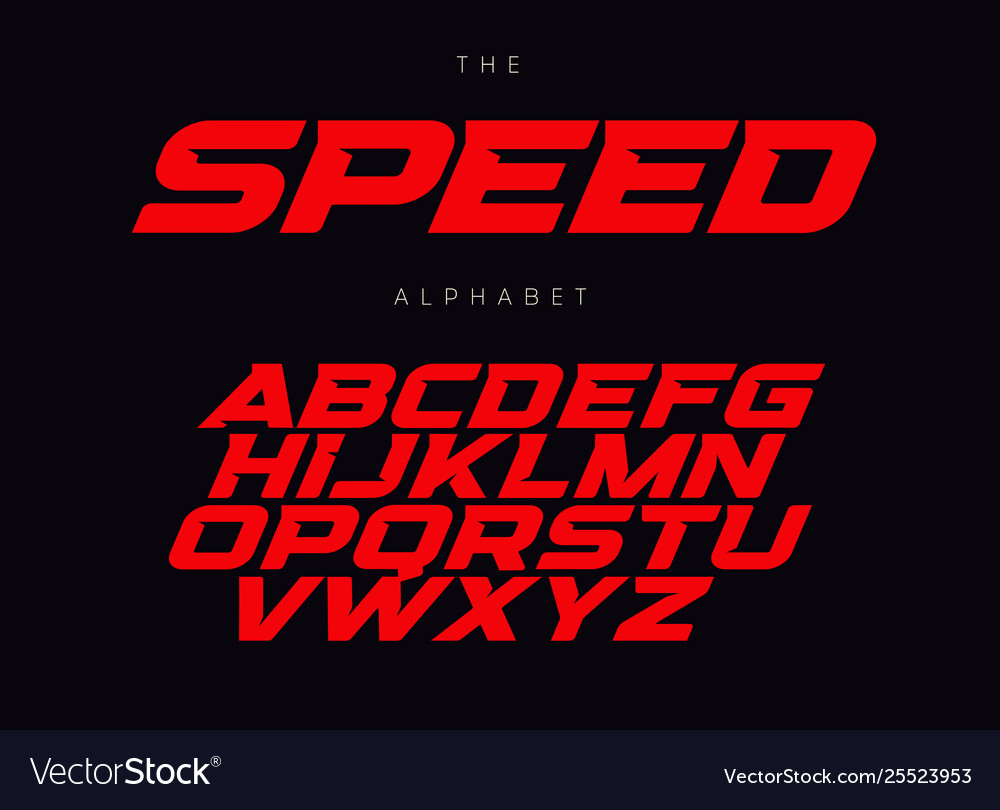 Speed letters set red race font italic bold