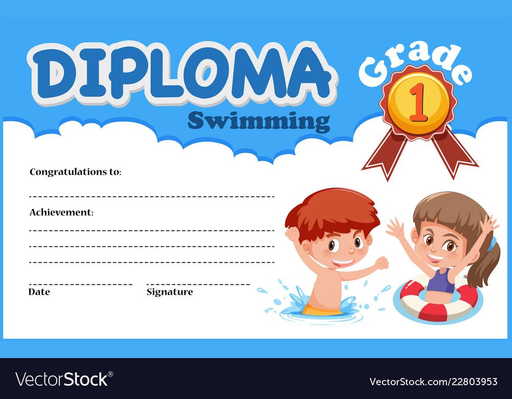 Swimming Diploma Certificate Template Vector Image