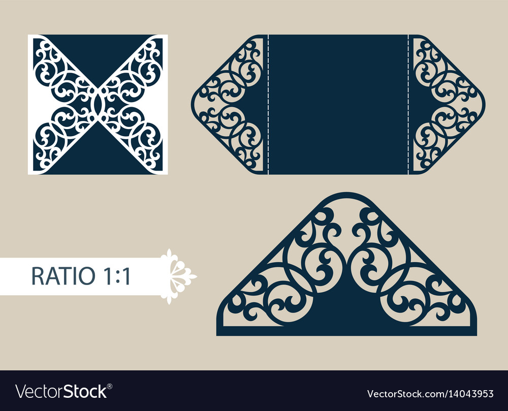Template greeting card with openwork pattern