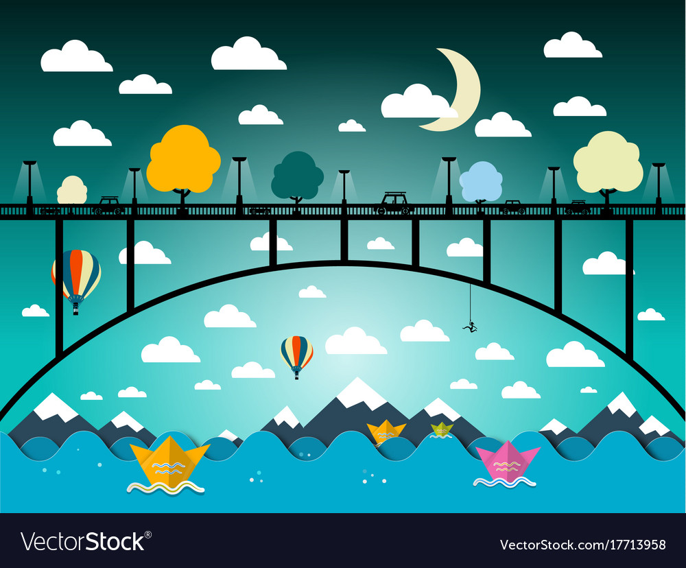 Abstract flat design landscape with bridge and